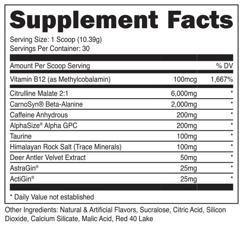 Bucked Up Pre Workout Supplement Facts