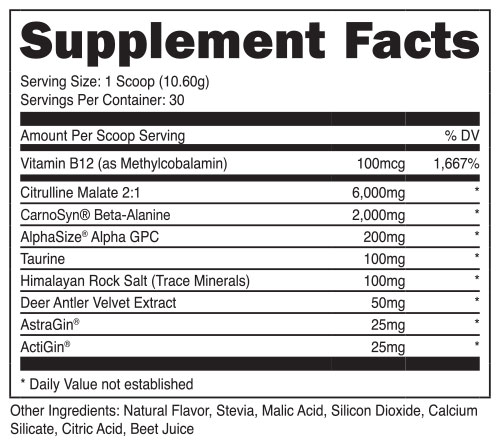 Bucked Up Stim Free Supplement Facts