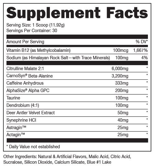 Woke AF Pre Workout Supplement Facts