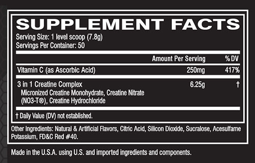 Cellucor CN3 Supplement Facts