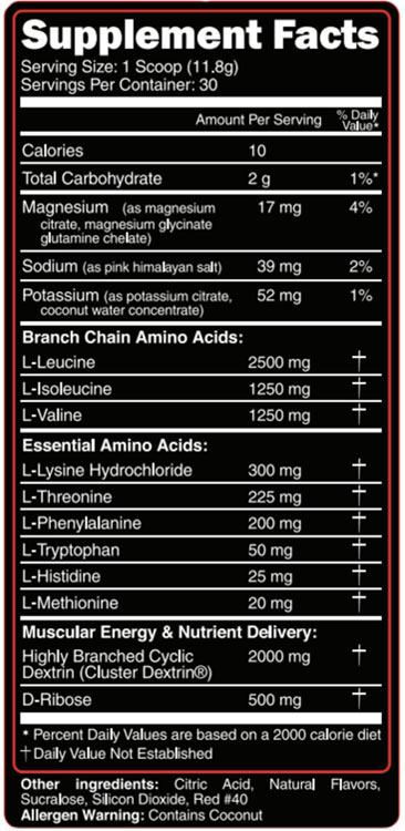EAA Max Supplement Facts