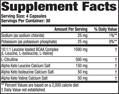 MHP Super Amino Supplement Facts