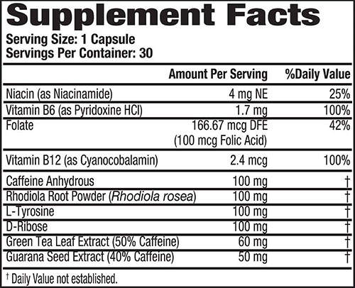 MHP Super Caffeine Supplement Facts