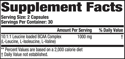 Super BCAA Supplement Facts