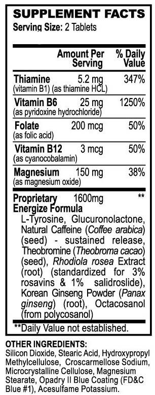 Isatori Energize Pills Supplement Facts