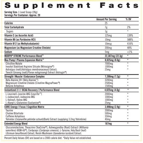 Morph Xtreme Supplement Facts
