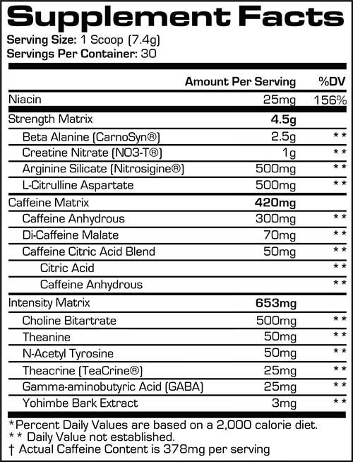 Mr Hyde Nitro X Supplement Facts