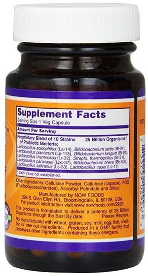 NOW Foods Probiotic 10 Supplement Facts