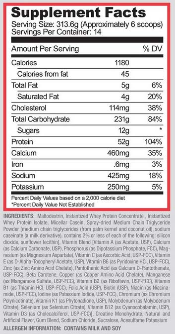 Purus Labs Mass Gain Supplement Facts