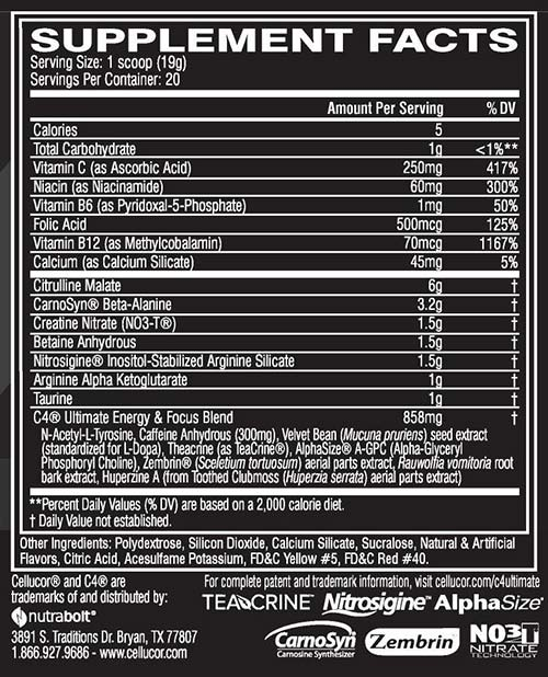 C4 Ultimate Nutrition Facts