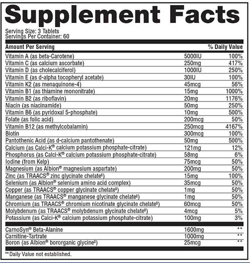Anavite Supplement Facts