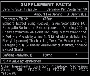 Stimerex Hardcore Supplement Facts