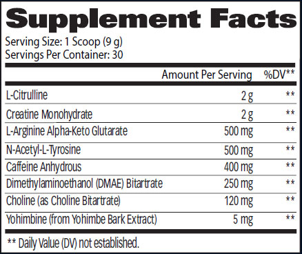 Hellion Pre Workout Supplement Facts