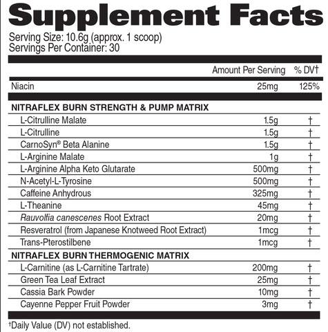 Nitraflex Burn Supplement Facts