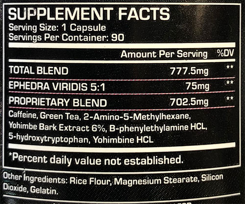 Black Viper Fat Burner Supplement Facts