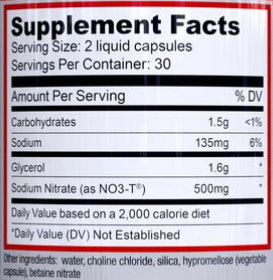 NOXYGEN Supplement Facts