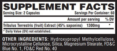 Nutrex Tribulus Supplement Facts