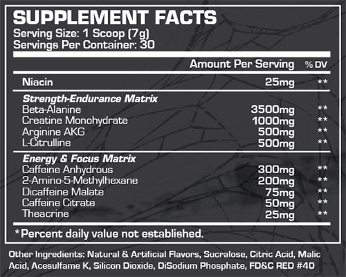 Venom Pre Workout Supplement Facts