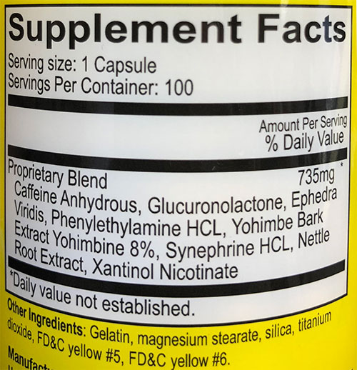 Yellow Bullet Fat Burner Supplement Facts