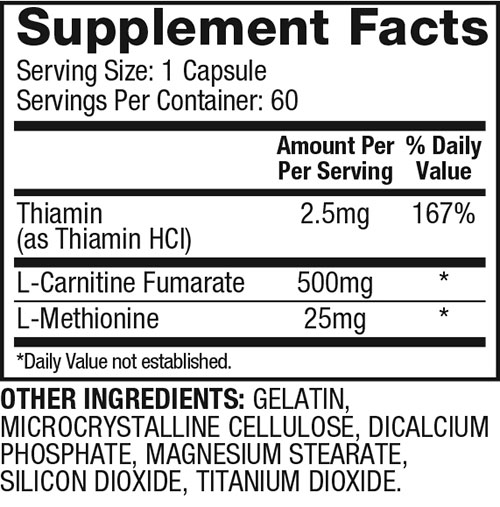L-Carnitine Xtreme Supplement Facts