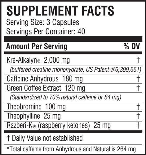 EFX Kre Alkalyn Hardcore Supplement Facts