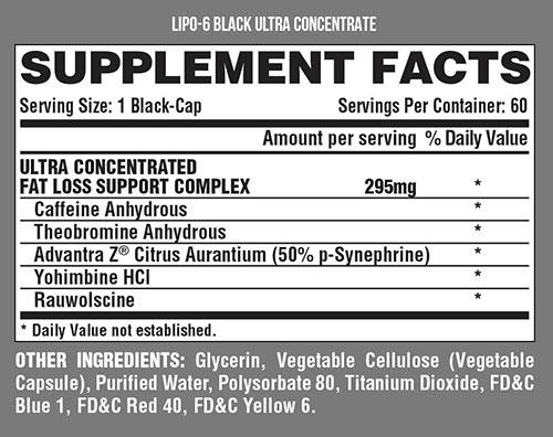 Lipo 6 Black Supplement Facts