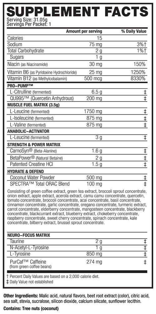 Pre Kaged Supplement Facts