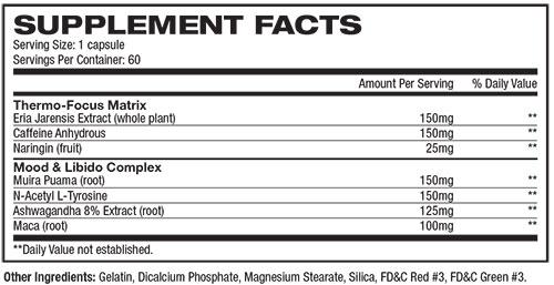 Alpha Woman Fat Burner Supplement Facts