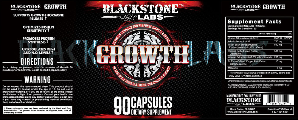 Blackstone Labs Growth Product Label