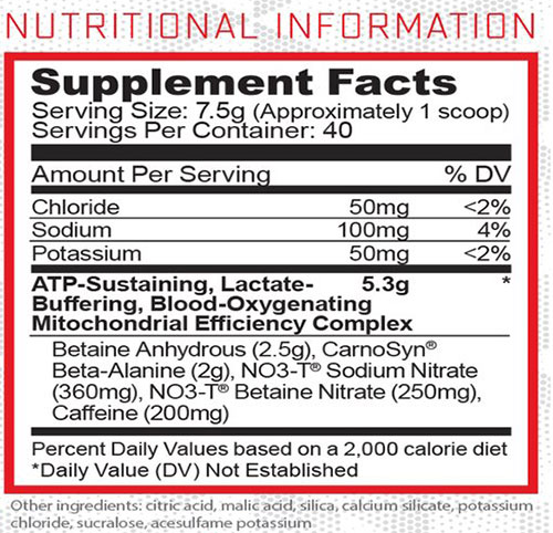 Condense Pre Workout Supplement Facts