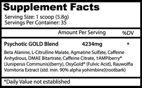 Psychotic Gold Supplement Facts