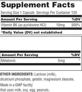 Universal Nutrition Melatonin Supplement Facts