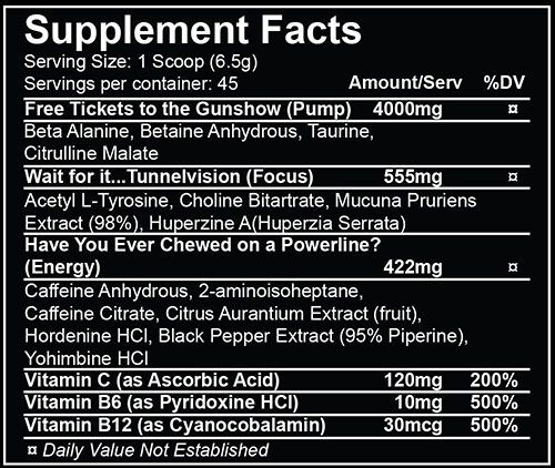 Reactr Pre Workout Ingredients