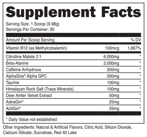 Bucked Up Pre Workout Nutrition Facts