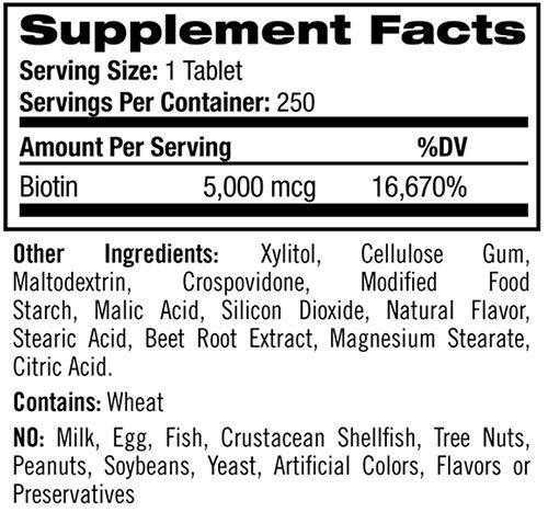 Natrol Biotin Ingredients