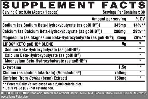 Lipo 6 Keto Supplement Facts