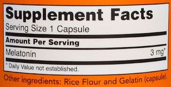 NOW Melatonin Ingredients