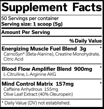 The Curse Pre Workout Supplement Facts