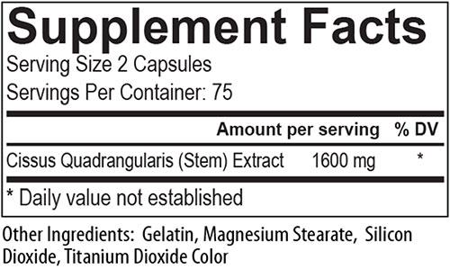 Super Cissus Supplement Facts