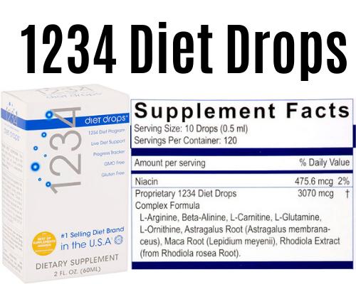 1234 diet drops product + Label