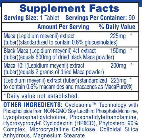 Hi-Tech Maca Supplement Facts