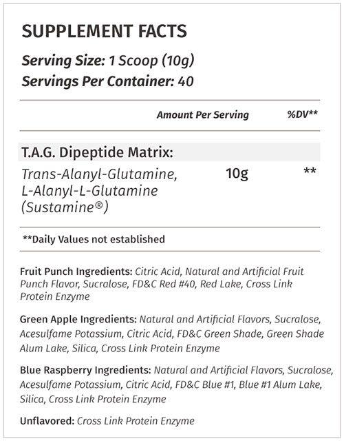 TAG Glutamine Supplement Facts
