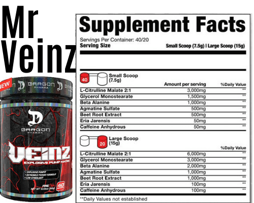 product + Label mr veinz best pre workout