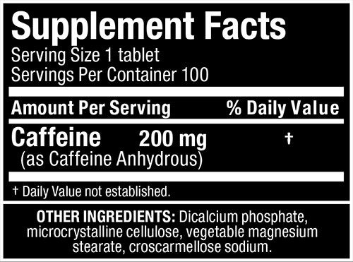 Allmax Caffeine Supplement Facts