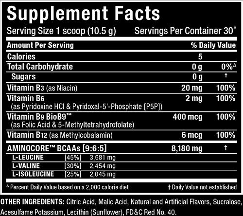 Aminocore Supplement Facts