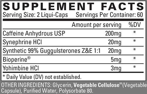Nutrex Lipo-6 White Label Supplement Facts