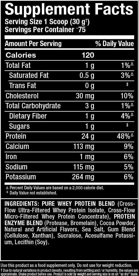 Allwhey Gold Supplement Facts