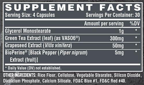 Nutrex Niox Supplement Facts