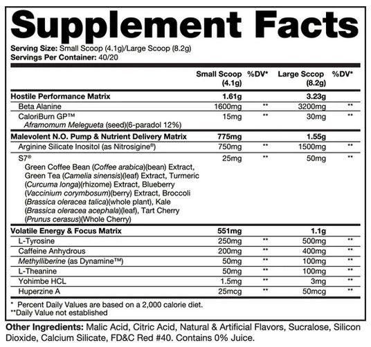 Venom Pre Workout Ingredients