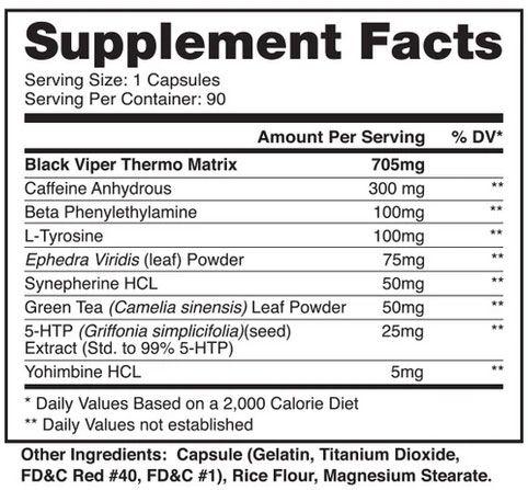Fatos do suplemento ao queimador de gordura Black Viper